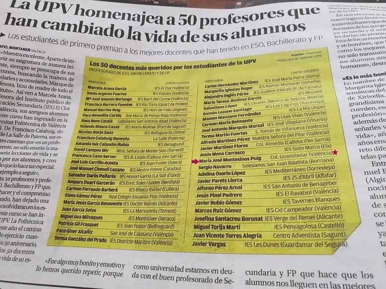 Mª José Montesinos, profesora de Matemáticas, entre los 50 ...